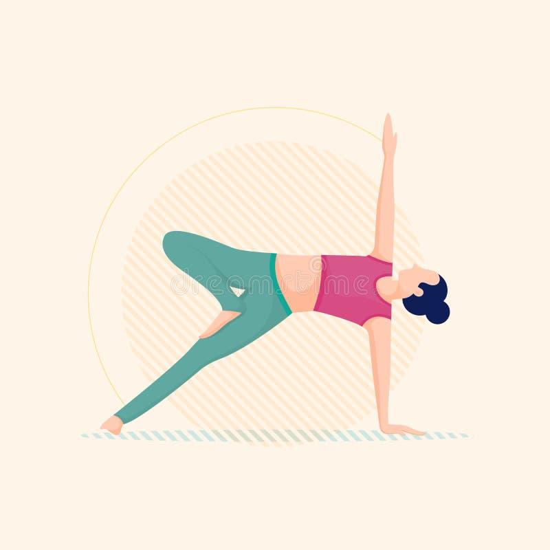 Femme pratiquant la pose de yoga, poses équilibrées photo libre de droits