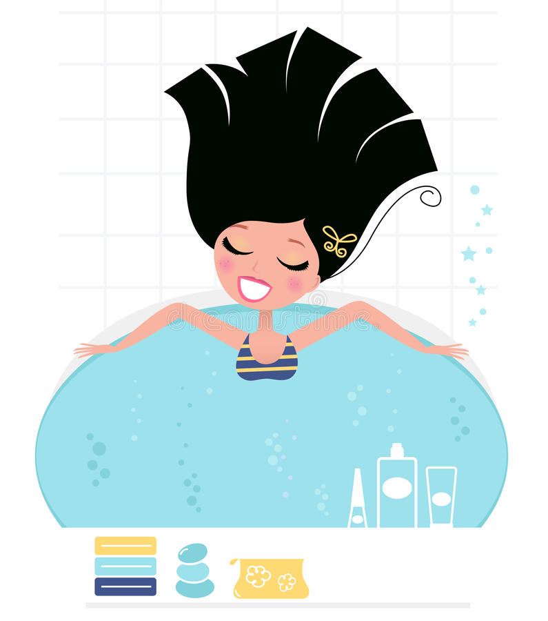 Femme prenant le bain de tourbillon. Rétro. illustration de vecteur