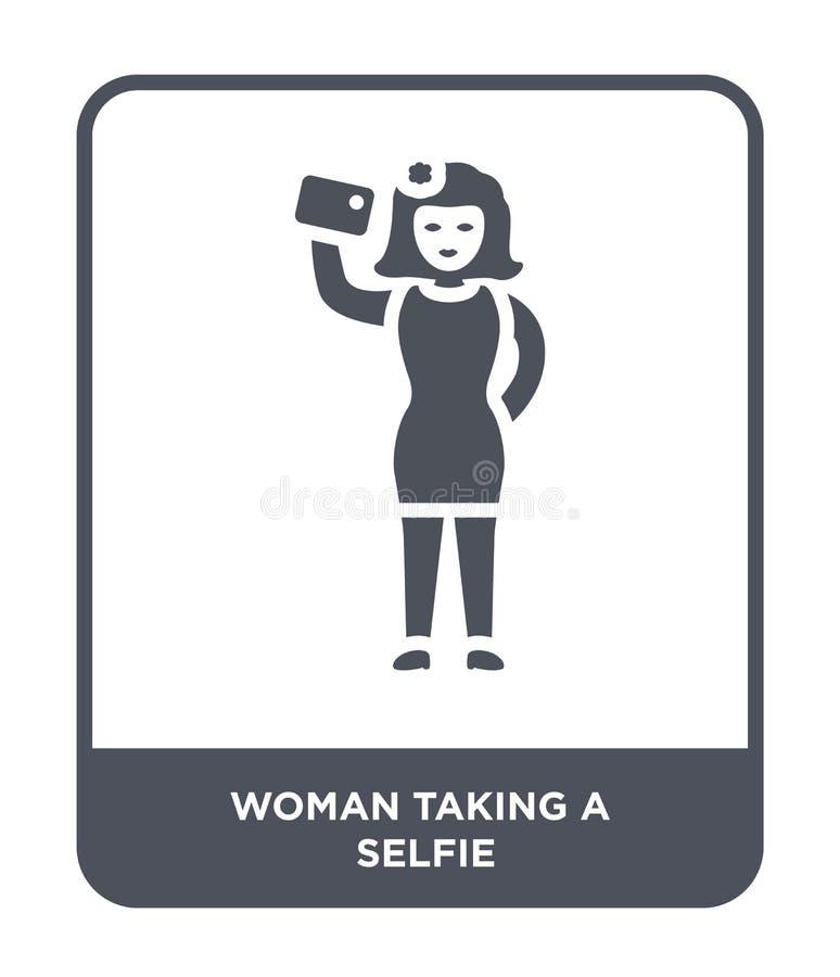 femme prenant une icône de selfie dans le style à la mode de conception femme prenant une icône de selfie d'isolement sur le fond illustration stock