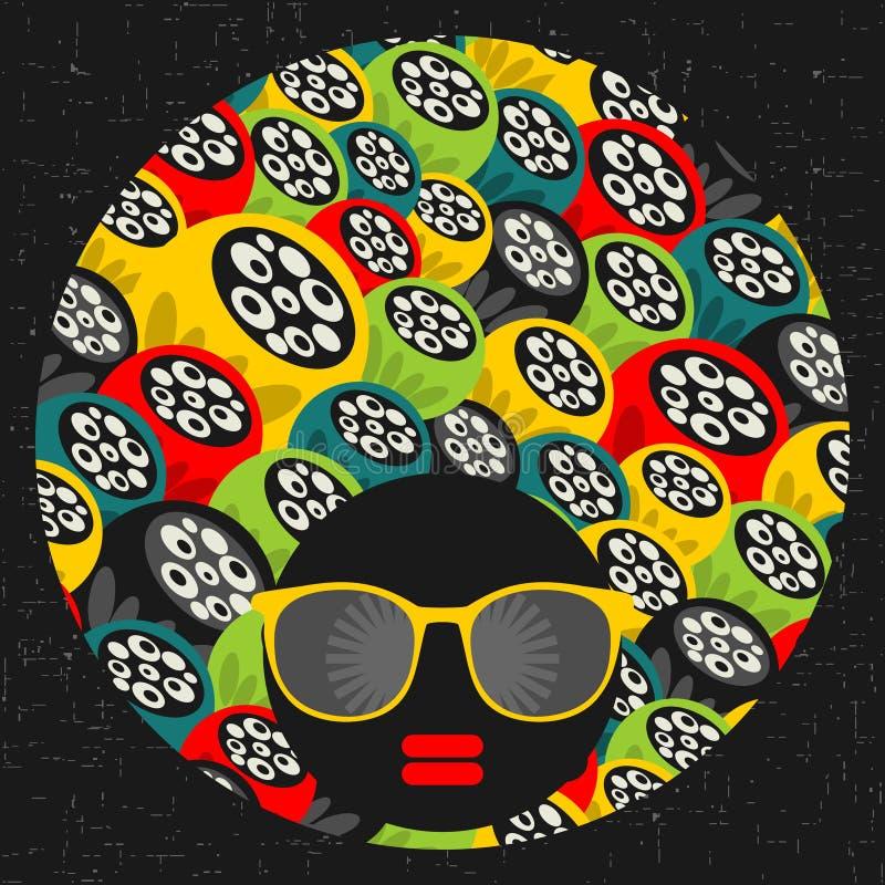 Femme principale noire avec les cheveux étranges. illustration libre de droits