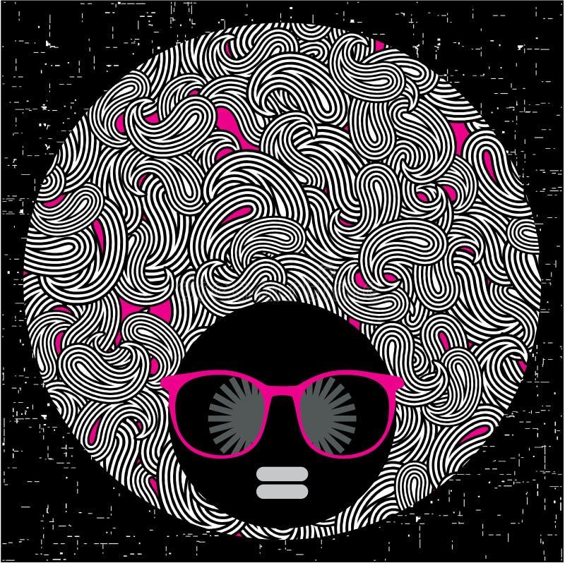 Femme principale noire avec les cheveux étranges de modèle. illustration stock