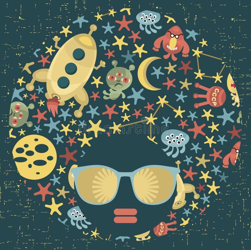 Femme principale noire avec les cheveux étranges de modèle. illustration de vecteur