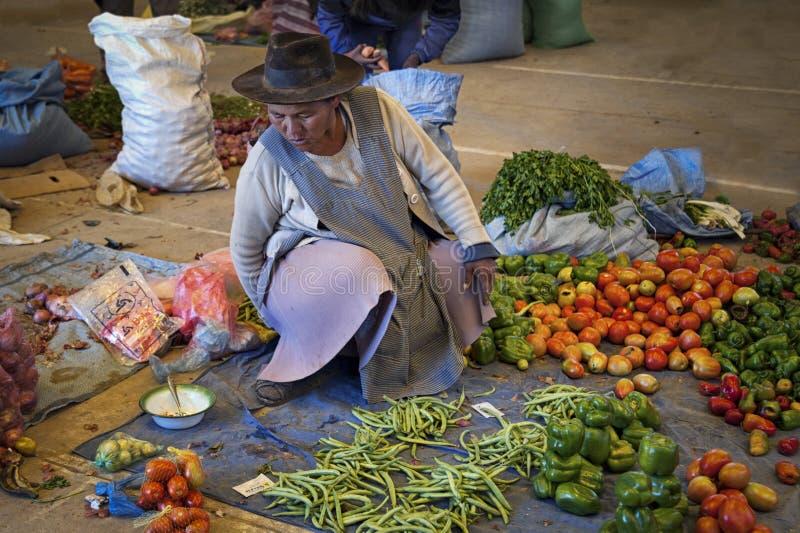 Femme Quechua indigène indigène non identifiée avec l'habillement et le chapeau tribals traditionnels, au marché de Tarabuco dima images libres de droits