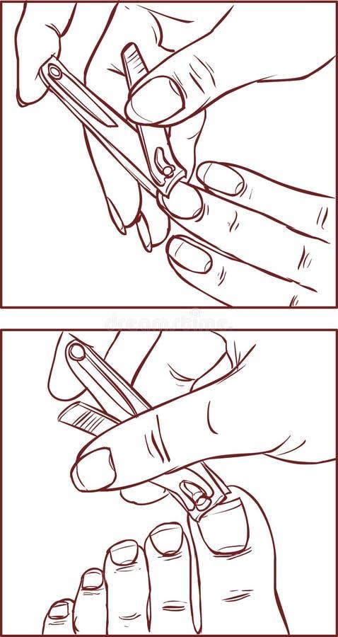 Femme qui clous de coupes des mains et des pieds utilisant des ciseaux de clou illustration de vecteur