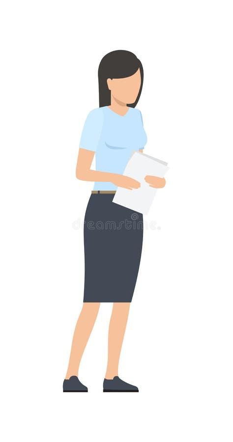 Femme réfléchie d'affaires pensant le projet de démarrage illustration de vecteur