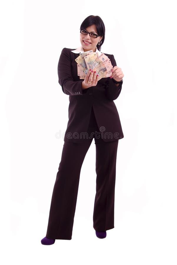 Femme réussi d'affaires affichant des billets de banque images libres de droits