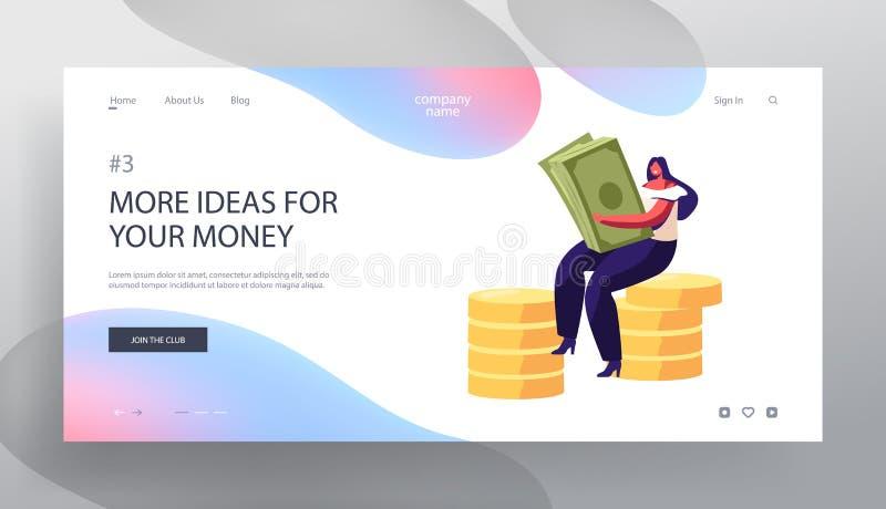 Femme réussie d'affaires avec l'argent liquide d'argent Bénéfice financier, salaire, richesse Capital de Making Savings Increasin illustration libre de droits