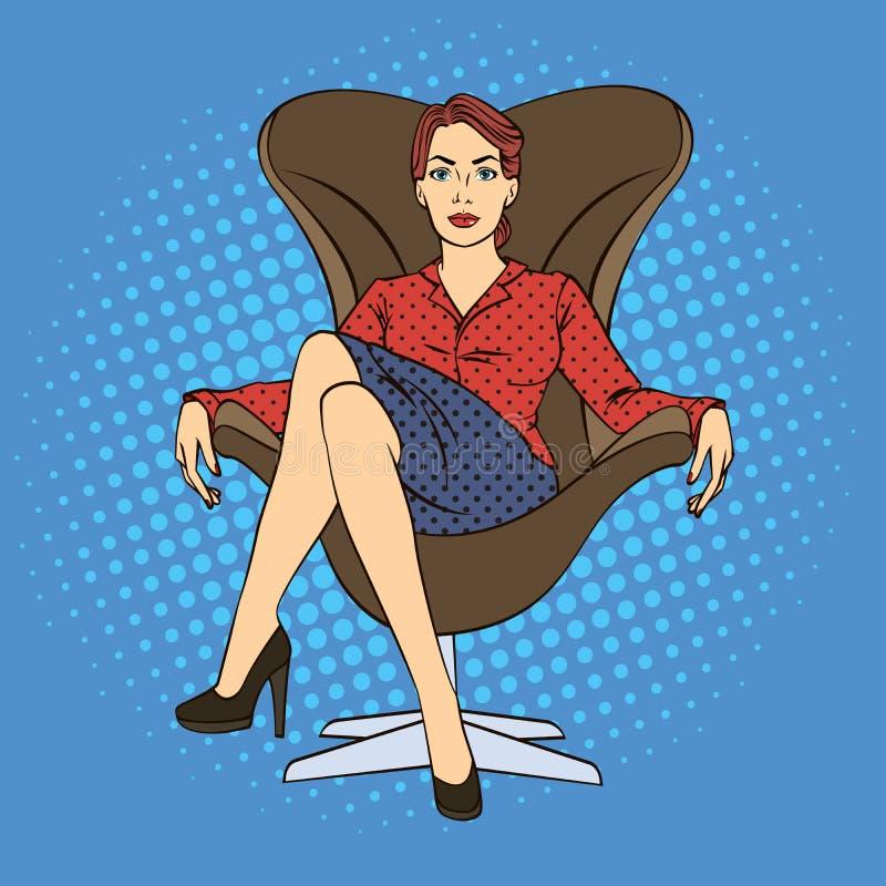 Femme réussie d'affaires s'asseyant dans la chaise de luxe Art de bruit illustration libre de droits