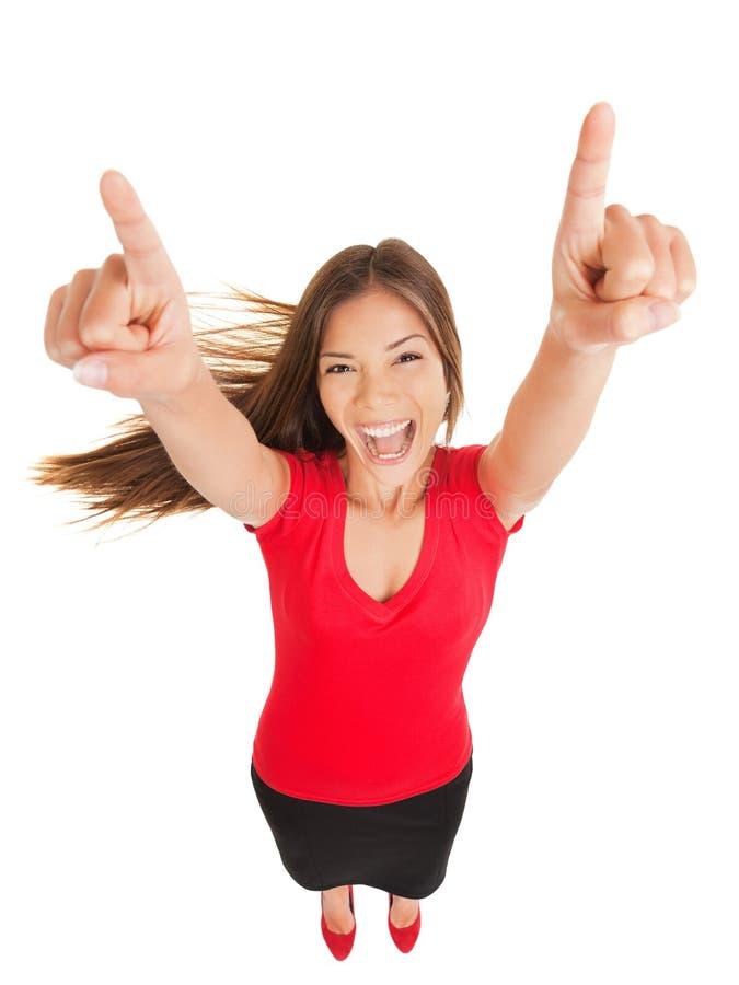 Femme réussie encourageant dans la jubilation image libre de droits