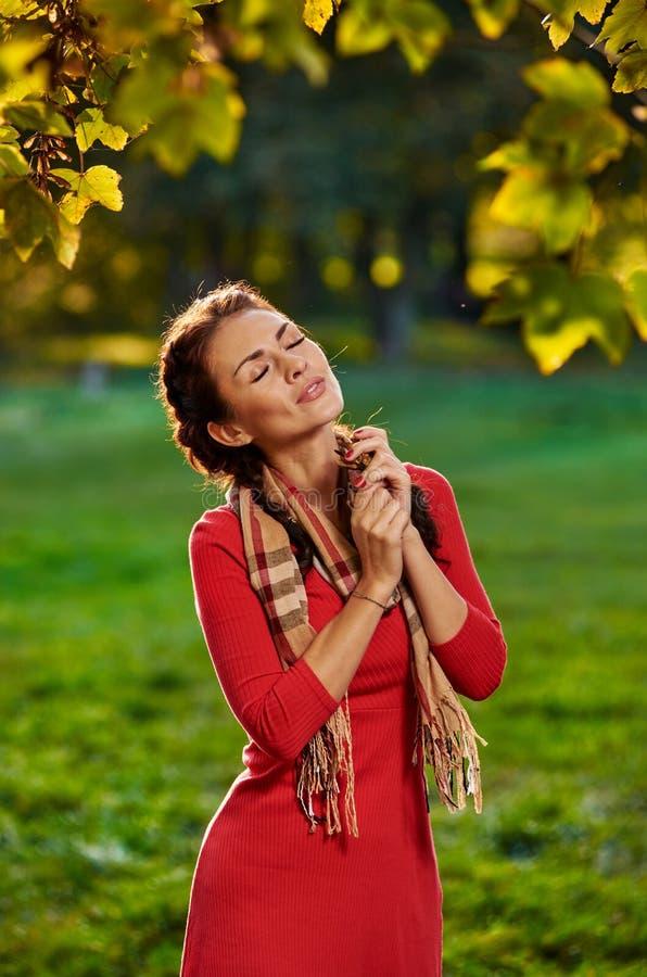 Femme rêvant en parc photos libres de droits