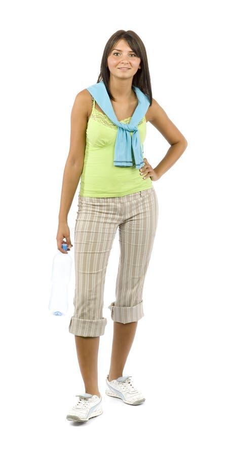 Femme rectifié par sport avec la bouteille images stock
