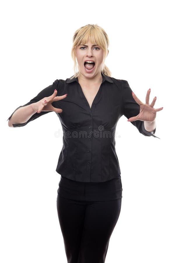 Femme regardant autour d'effrayé photo libre de droits