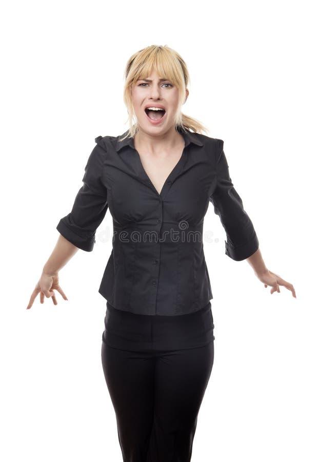 Femme regardant autour d'effrayé photographie stock libre de droits