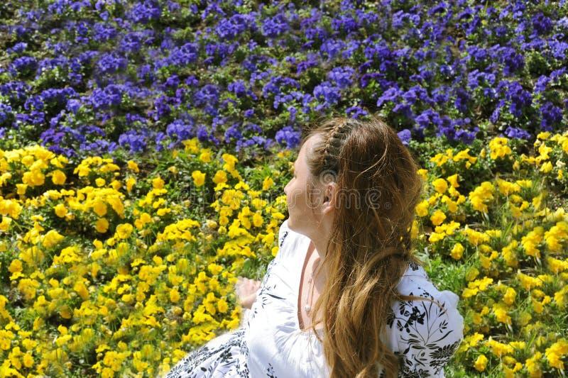 Femme regardant loin sur le pré avec les fleurs jaunes et bleues photos stock