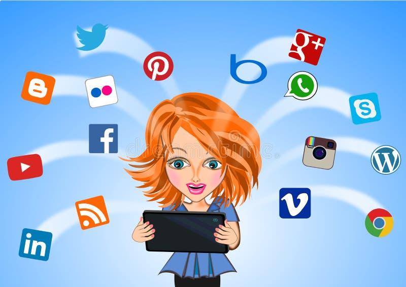Femme reliée au concept social de media illustration de vecteur