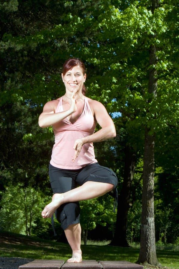 Femme restant sur le Tableau de pique-nique - verticale photo stock
