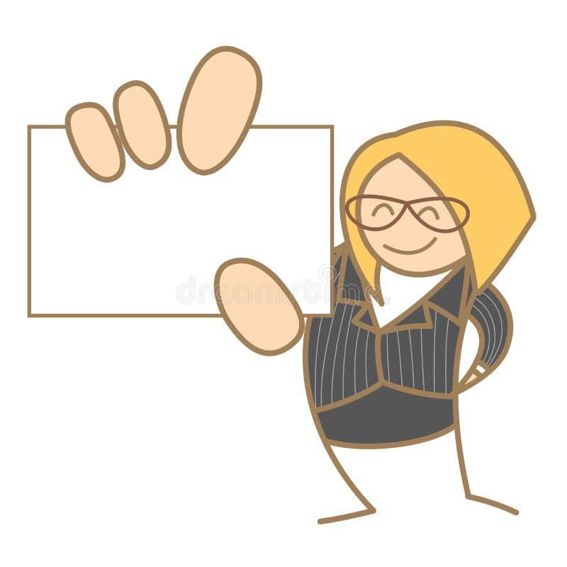 Femme retenant la carte nominative illustration stock