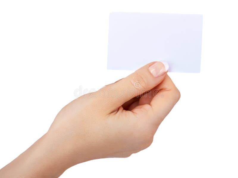 Femme retenant le blanc images stock