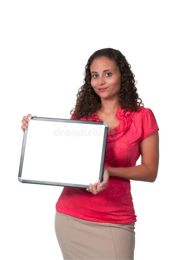 Femme retenant un signe blanc photos libres de droits