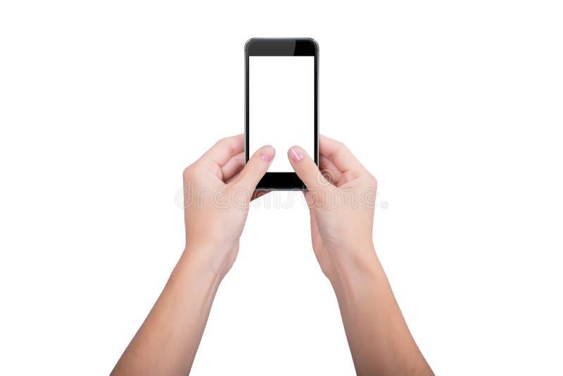 Femme retenant un téléphone portable photos stock