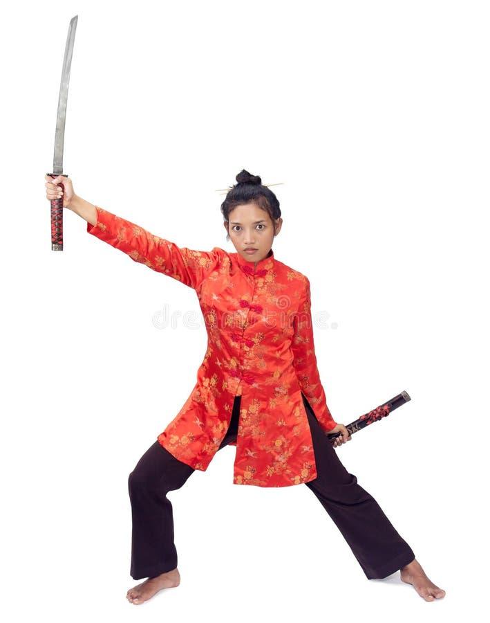 Femme retenant une épée photos libres de droits