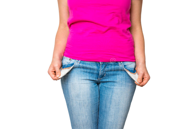 Femme retirant les poches vides d'isolement sur le blanc photo libre de droits