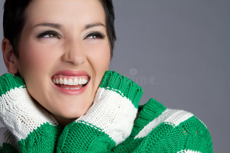 Femme riant photo stock