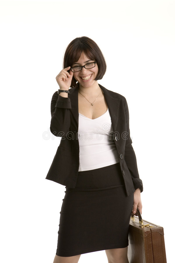 Femme riante d'affaires photographie stock libre de droits