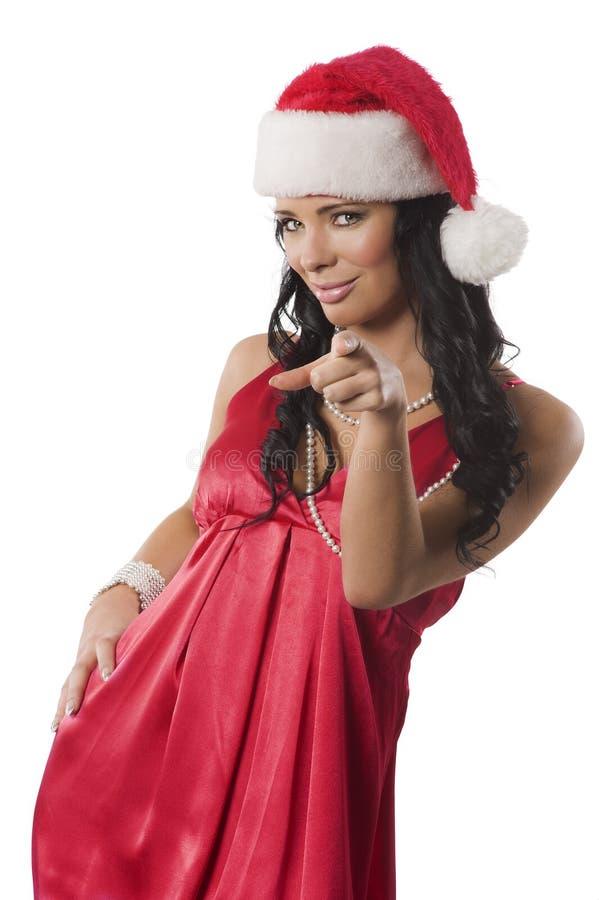 Femme rouge avec le chapeau de christamas images libres de droits