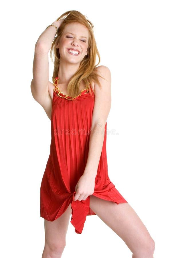 Femme rouge de robe image libre de droits