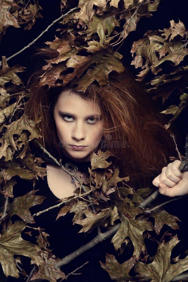 Femme rousse avec des feuilles et des branches photo stock