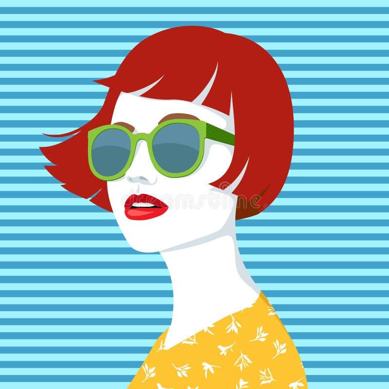 Femme rousse avec des lunettes de soleil illustration libre de droits
