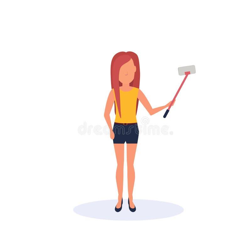 Femme rousse faisant le personnage de dessin animé femelle de silhouette sans visage d'isolement par pose de position de bâton d' illustration stock