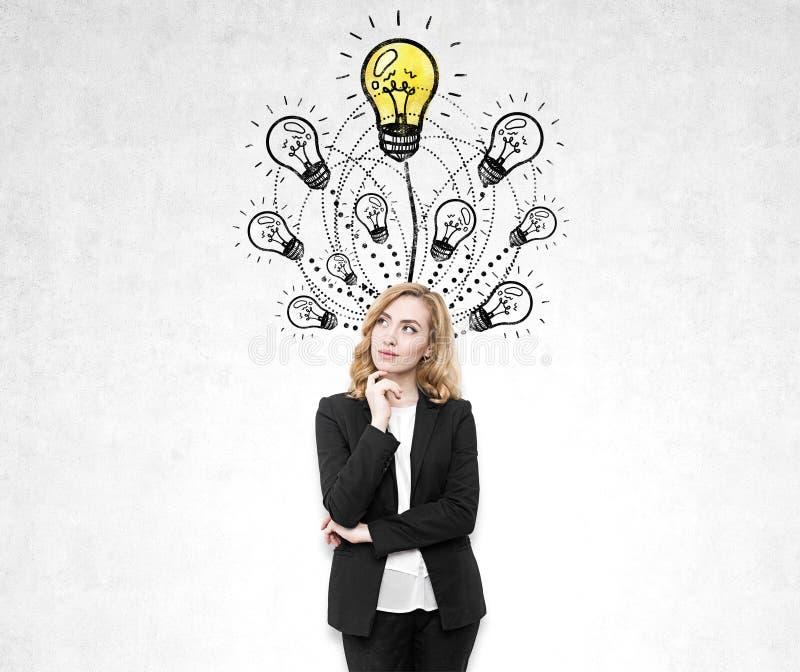Femme rousse songeuse près des croquis d'ampoule photographie stock