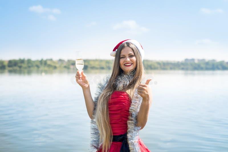 Femme séduisante aux cheveux longs et au champagne sur la plage images stock