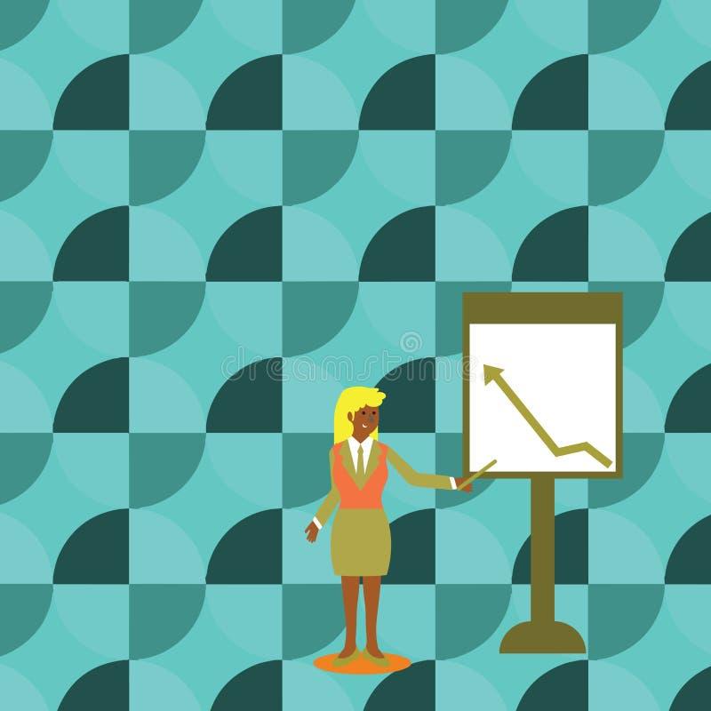 Femme sûre dans le bâton de participation de costume et pointage pour dresser une carte de la flèche montant sur le tableau blanc illustration stock