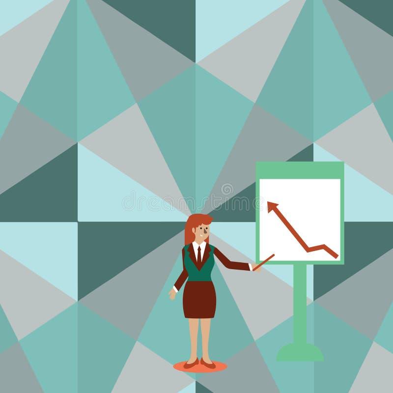 Femme sûre dans le bâton de participation de costume et pointage pour dresser une carte de la flèche montant sur le tableau blanc illustration libre de droits
