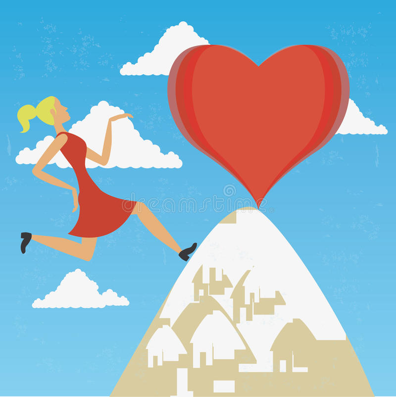 Femme s'élevant jusqu'au dessus de l'amour illustration libre de droits