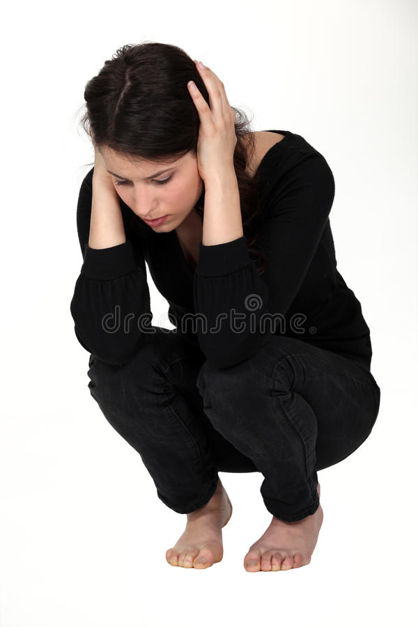 Femme s'affligeante photographie stock