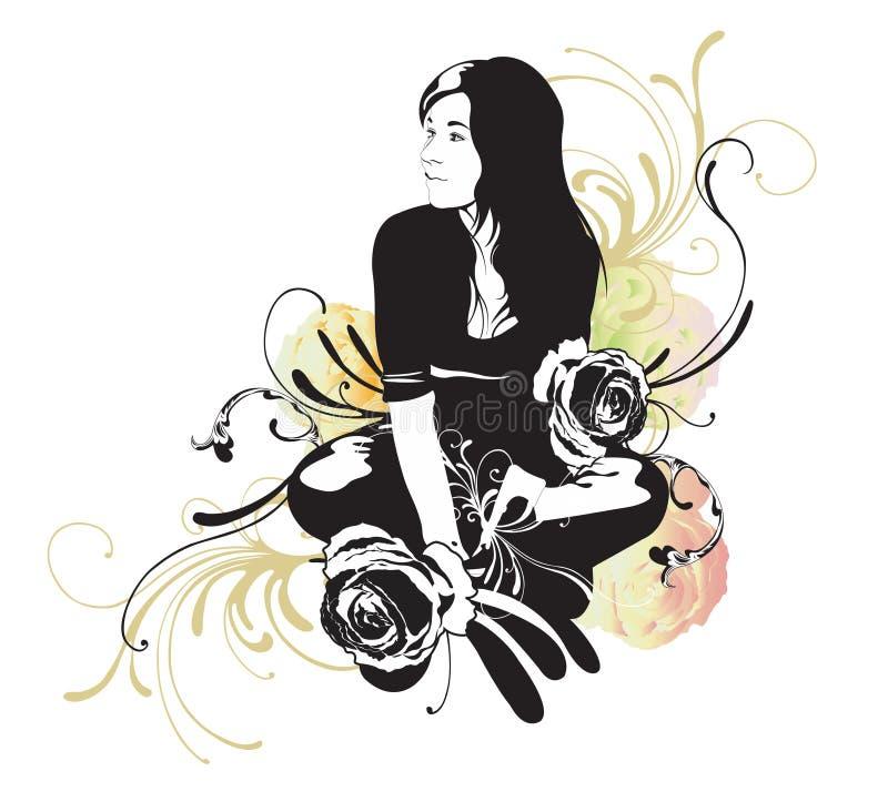 Femme s'asseyant illustration libre de droits