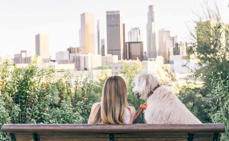 Femme s'asseyant avec son chien images stock