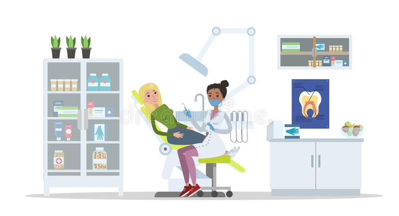 Femme s'asseyant dans la clinique dentaire avec le mal de dents illustration de vecteur