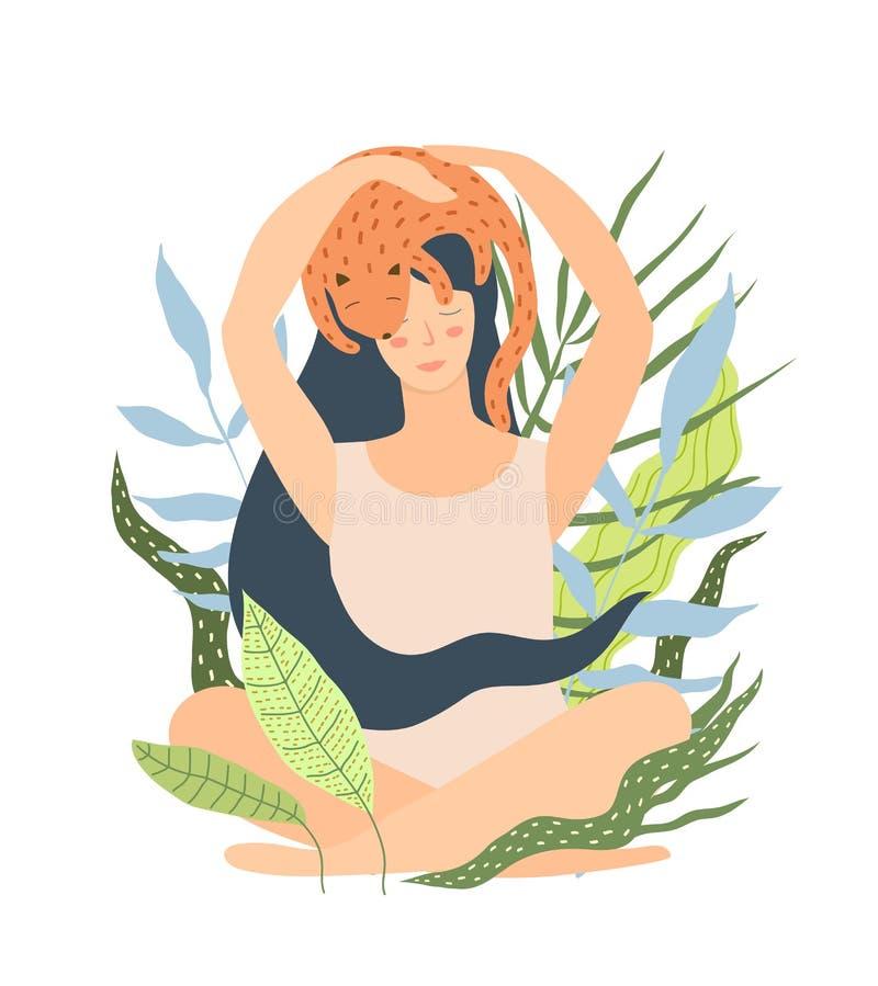Femme s'asseyant en nature avec le chat dormant sur la tête illustration stock