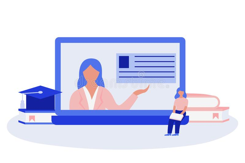 Femme s'asseyant sur l'ordinateur portable géant et la lecture Femme sur l'écran de l'ordinateur portable Concept en ligne d'?duc illustration libre de droits
