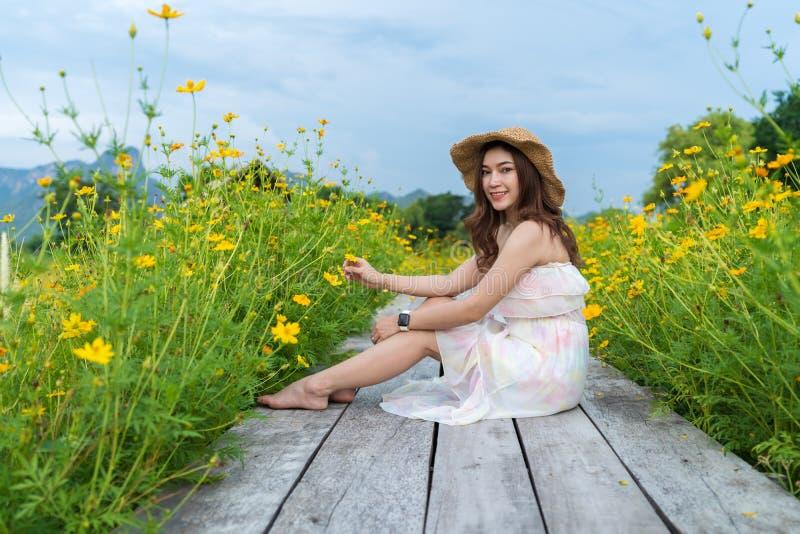 Femme s'asseyant sur le pont en bois avec le gisement de fleur jaune de cosmos images libres de droits