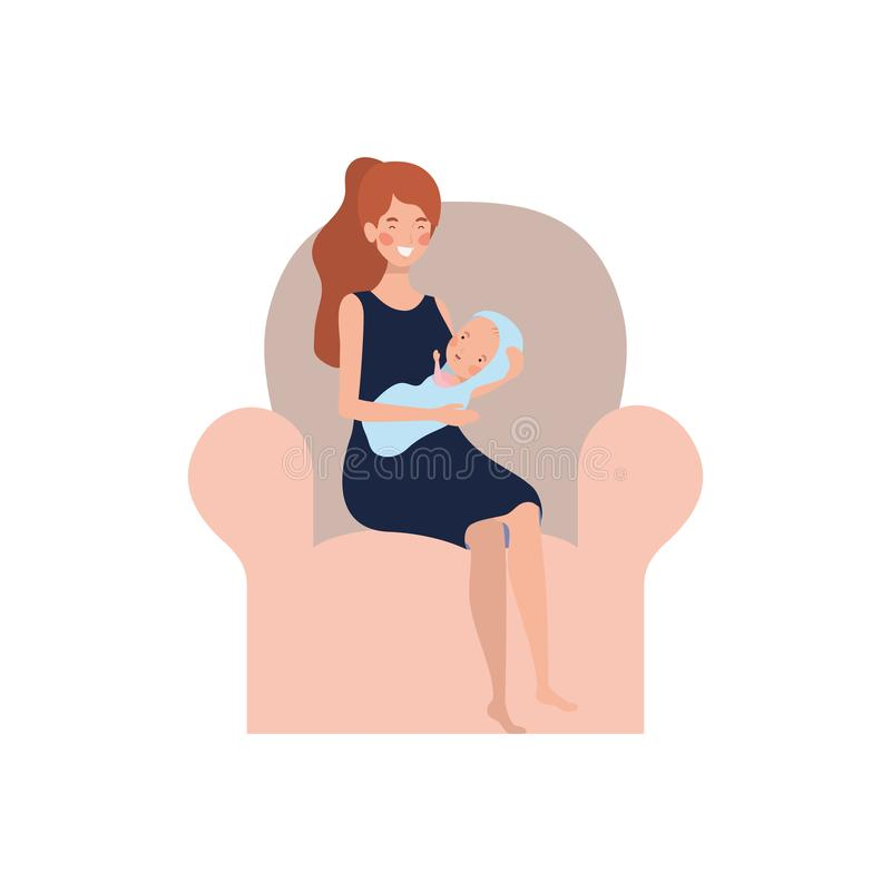 Femme s'asseyant sur le sofa avec un bébé nouveau-né dans des ses bras illustration de vecteur