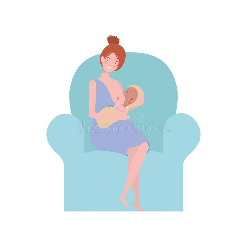 Femme s'asseyant sur le sofa avec un bébé nouveau-né dans des ses bras illustration libre de droits