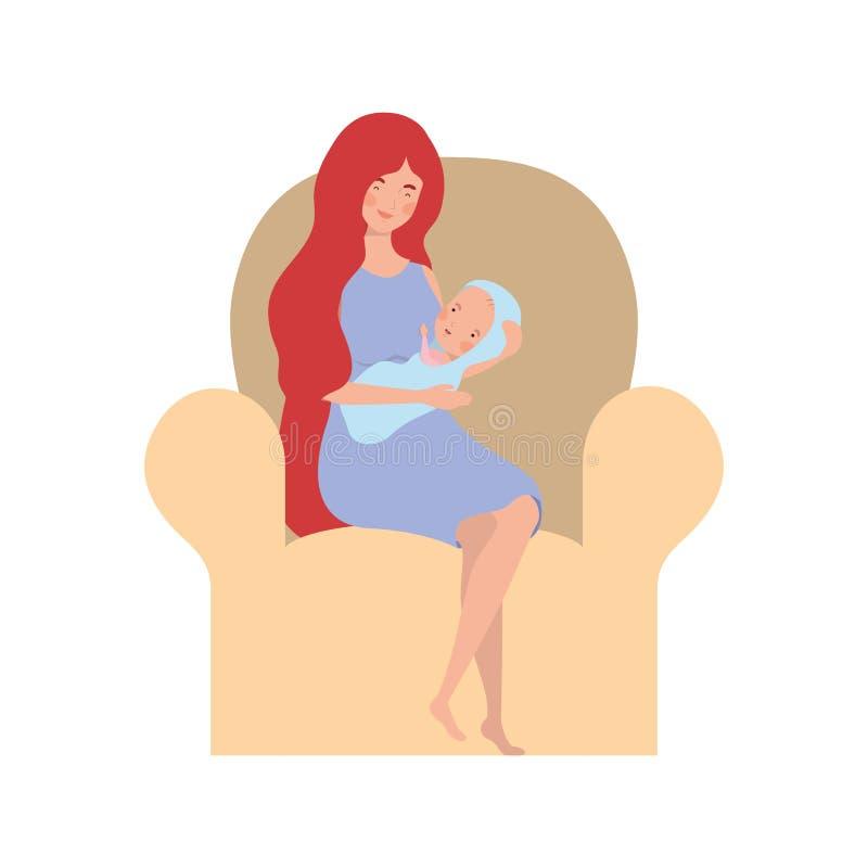 Femme s'asseyant sur le sofa avec un bébé nouveau-né dans des ses bras illustration stock