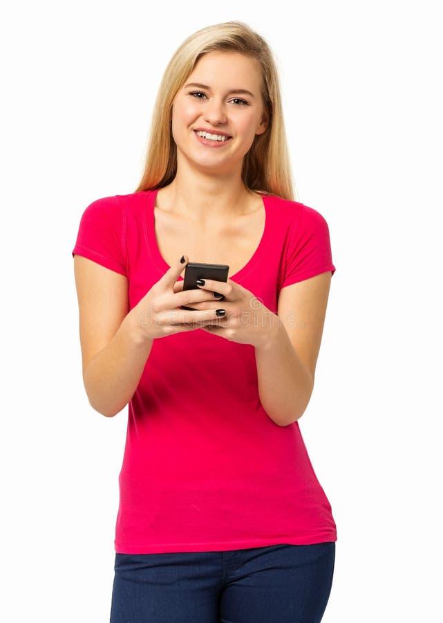 Femme sûre à l'aide du téléphone intelligent images libres de droits