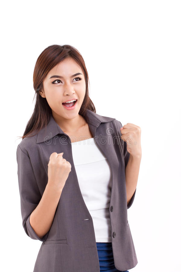 Femme sûre et réussie d'affaires regardant l'espace vide photos libres de droits